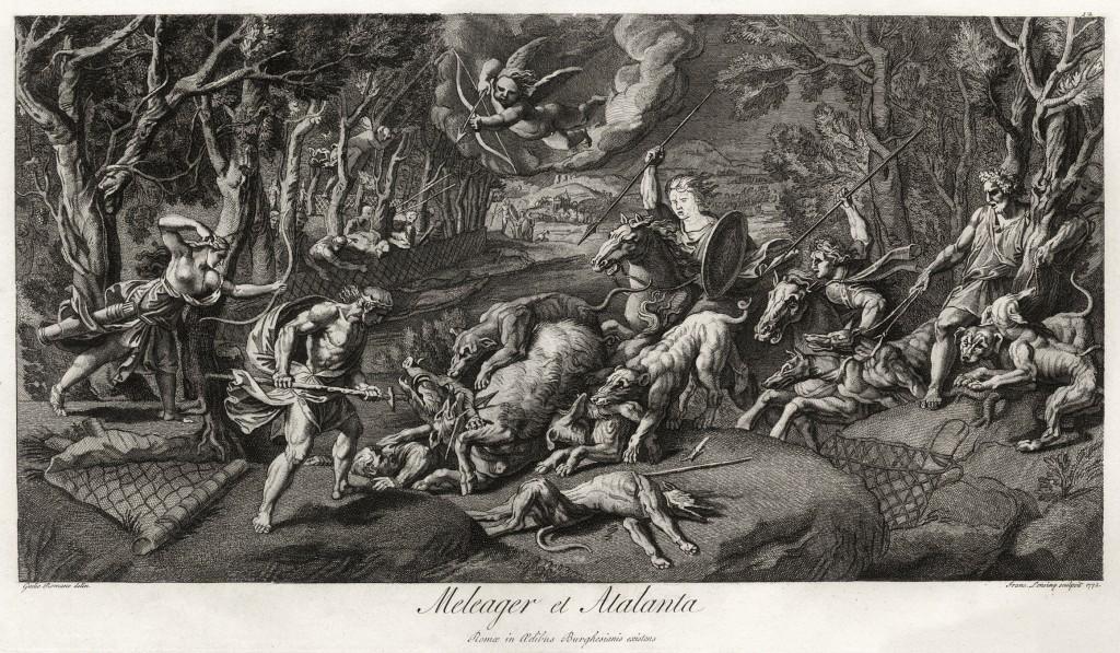 Calydonian Boar Battle Scene from Greek Mythology