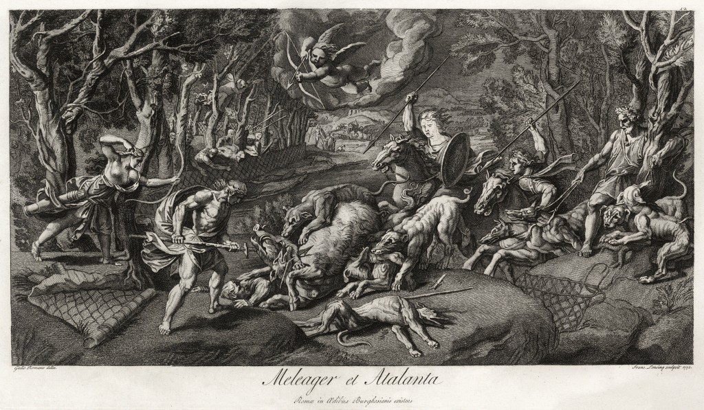 Calydonian Boar Battle Scene from Greek Mythology